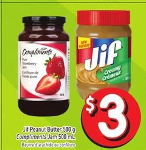 Jif Peanut Butter 500 g Compliments Jam 500 mL