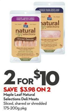 Maple Leaf Natural Selections Deli Meats