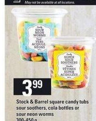 Stock & Barrel Square Candy Tubs Sour Soothers - Cola Bottles Or Sour Neon Worms - 300-450 g
