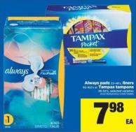 Always Pads - 22-48's - Liners - 92-162's Or Tampax Tampons - 36-54's