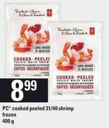PC Cooked Peeled 31/40 Shrimp - 400 g
