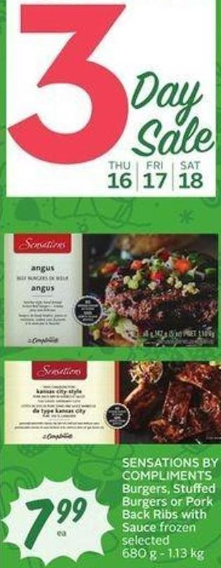 Sensations By Compliments Burgers - Stuffed Burgers or Pork Back Ribs With Sauce Frozen Selected 680 g - 1.13 Kg
