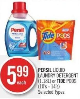 Persil Liquid Laundry Detergent (1.18l) or Tide PODS (10's - 14's)