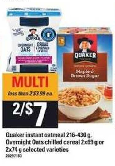 Quaker Instant Oatmeal 216-430 g - Overnight Oats Chilled Cereal 2x69 g or 2x74 g