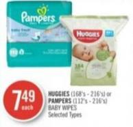 Huggies (168's - 216's) or Pampers (112's - 216's) Baby Wipes