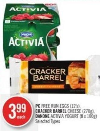 PC Free Run Eggs (12's) - Cracker Barrel Cheese (270g) - Danone Activia Yogurt (8 X 100g)