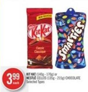 Kit Kat (140g - 170g) or Nestlé Cellos (135g - 215g) Chocolate