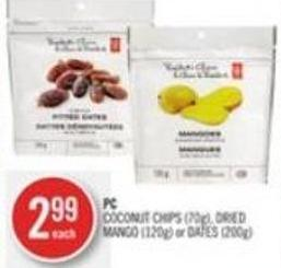 PC Coconut Chips (70g) - Dried Mango (120g) or Dates (200g)