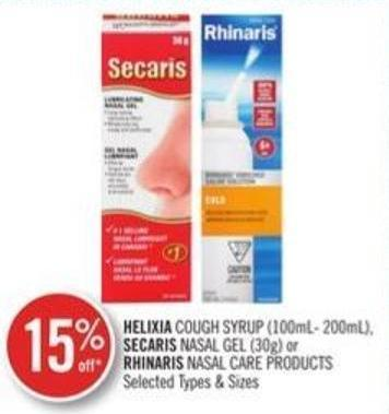 Helixia Cough Syrup (100ml-200ml) - Secaris Nasal Gel (30) Or Rhinaris Nasal Care Products