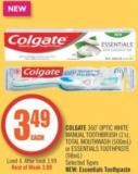 Colgate 360˚ Optic White Manual Toothbrush (1's) - Total Mouthwash (500ml) or Essentials Toothpaste (98ml)