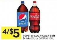 Pepsi or Coca-cola Soft Drinks 2 L or Dasani 1.5 L
