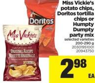 Miss Vickie's Potato Chips - Doritos Tortilla Chips Or Humpty Dumpty Party Mix - 200-290 g
