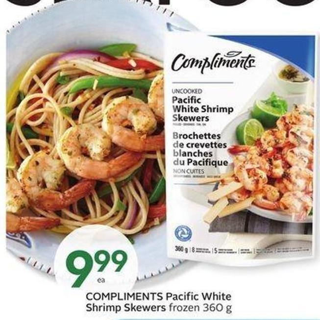Compliments Pacific White Shrimp Skewers
