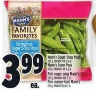 Mann's Sugar Snap Peas 227 G Product Of U.S.A. Mann's Snow Peas 170 G Product Of U.S.A.