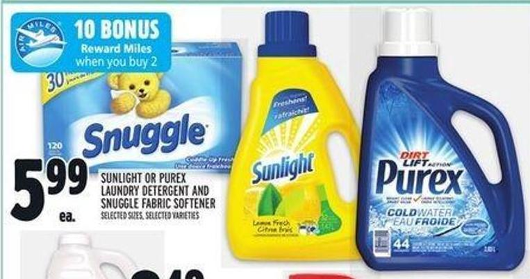 Sunlight Or Purex Laundry Detergent And Snuggle Fabric Softener