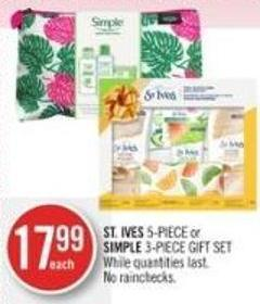 St. Ives 5-piece or Simple 3-piece Gift Set