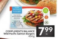 Compliments Balance Wild Pacific Salmon Burgers 454 g