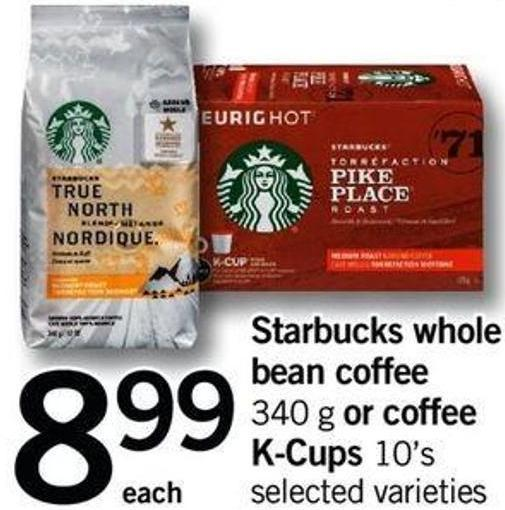 Starbucks Whole Bean Coffee - 340 G Or Coffee K-cups - 10's