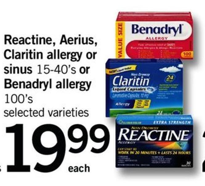 Reactine - Aerius - Claritin Allergy Or Sinus 15-40's Or Benadryl Allergy 100's