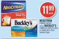 Neocitran Powder Sachet (10's) - Buckley's Complete Caplets (40's) or Liquid Gels (24's)
