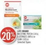 LIFE BRAND NICOTINE PATCH (14's), LOZENGES (88's) or GUM (105's)