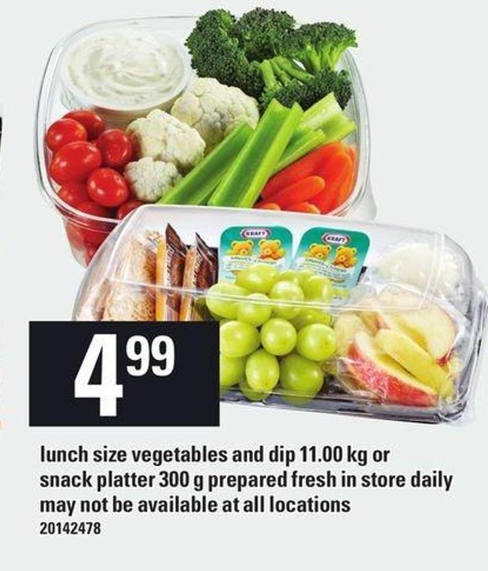 Lunch Size Vegetables And Dip 11.00 Kg Or Snack Platter 300 G