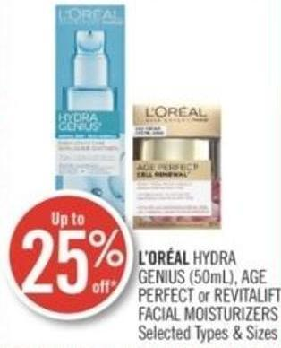 L'oréal Hydra Genius (50ml) - Age Perfect or Revitalift Facial Moisturizers