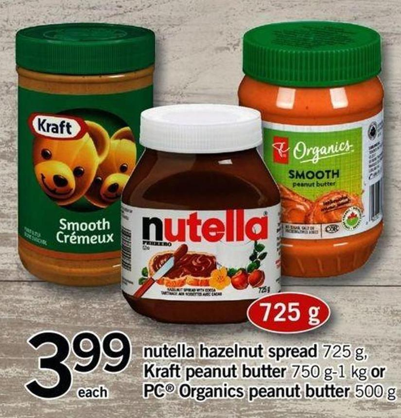 Nutella Hazelnut Spread - 725 G - Kraft Peanut Butter - 750 G-1 Kg Or PC Organics Peanut Butter - 500 G
