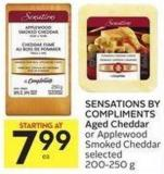 Sensations By Compliments Aged Cheddar or Applewood Smoked Cheddar Selected 200-250 g