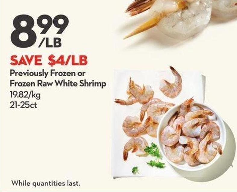 Previously Frozen or Frozen Raw White Shrimp