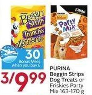 Purina Beggin Strips Dog Treats or Friskies Party Mix 163-170 g - 30 Air Miles Bonus Miles