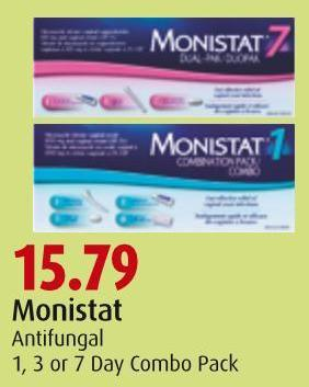 Monistat Antifungal 1 - 3 or 7 Day Combo Pack