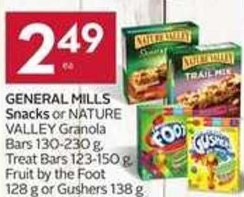 General Mills Snacks or Nature Valley Granola Bars 130-230 g - Treat Bars 123-150 g - Fruit By The Foot 128 g or Gushers 138 g - And Get 40 Air Miles Bonus Miles