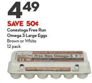 Conestoga Free Run Omega 3 Large Eggs Brown or White 12 Pack