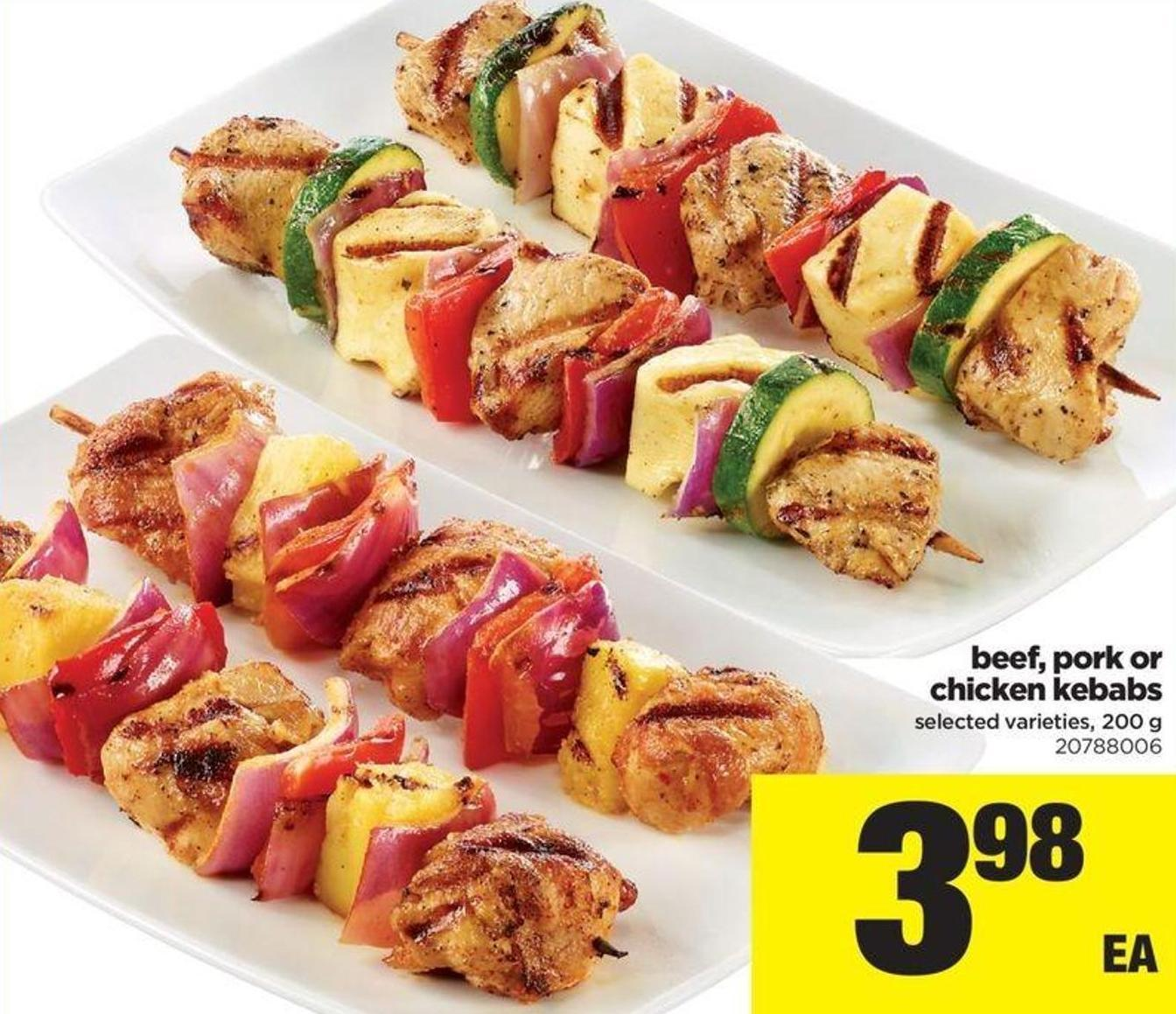 Beef - Pork Or Chicken Kebabs - 200 G