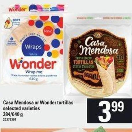 Casa Mendosa Or Wonder Tortillas - 384/640 g