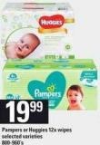 Pampers Or Huggies 12x Wipes - 800-960's