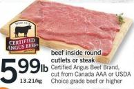 Beef Inside Round Cutlets Or Steak