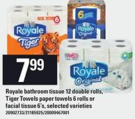 Royale Bathroom Tissue 12 Double Rolls - Tiger Towels Paper Towels 6 Rolls Or Facial Tissue 6's
