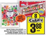 Selection Lollipops Or Regal Rockets Candy Or Hubba Bubba GUM