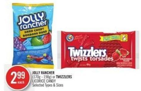 Jolly Rancher (170g - 198g) or Twizzlers Licorice Candy