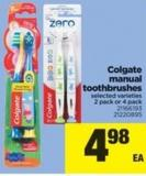 Colgate Manual Toothbrushes - 2 Pack or 4 Pack