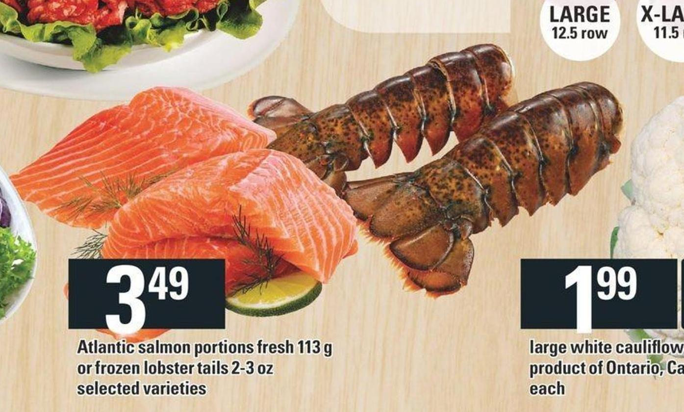 Portions De Saumon De L'atlantique Frais 113 G Ou Queues De Homard Surgelées 2-3 Oz