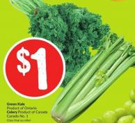 Green Kale Product of Ontario Celery Product of Canada Canada No. 1