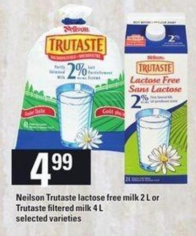 Neilson Trutaste Lactose Free Milk 2 L Or Trutaste Filtered Milk 4 L