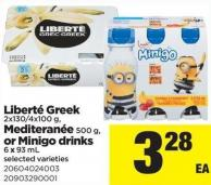 Liberté Greek - 2x130/4x100 g - Mediteranée - 500 g - or Minigo Drinks - 6 X 93 mL
