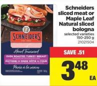 Schneiders Sliced Meat Or Maple Leaf Natural Sliced Bologna - 150-250 g