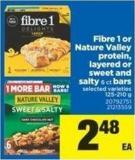 Fibre 1 Or Nature Valley Protein - Layered Or Sweet And Salty - 6 Ct Bars - 125-210 g