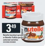 Nutella Hazelnut Spread 375 G Or Nutella To&go Packs 208 G