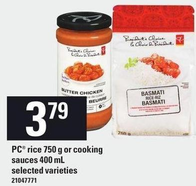 PC Rice 750 G Or Cooking Sauces 400 mL